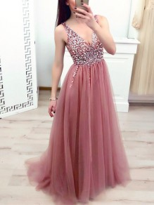 Pink Patchwork Sequin Grenadine Draped Side Slit V-neck Elegant Maxi Dress