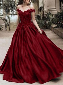 Burgundy Patchwork Lace Off Shoulder Pleated Bridesmaid Prom Evening Party Maxi Dress