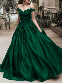 Green Patchwork Lace Off Shoulder Pleated Bridesmaid Prom Evening Party Maxi Dress