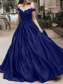 Blue Patchwork Lace Off Shoulder Pleated Bridesmaid Prom Evening Party Maxi Dress