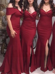 Burgundy Ruffle Wedding Gowns Off Shoulder Thigh High Side Slits Bridesmaid Maxi Dresses