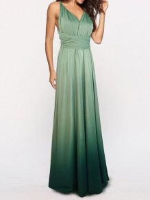Maxi dress crossback benda multi color sfumata con scollo A V elegante grigio verde