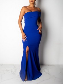 Dark Blue One Off Shoulder Bodycon Mermaid Thigh High Side Slits Prom Evening Party Maxi Dress