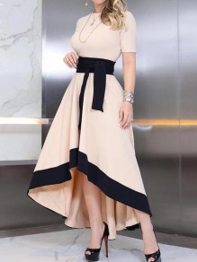 Beige-Black Patchwork Irregular Sashes High-low Swallowtail Banquet Prom Party Maxi Dress