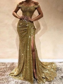 Golden Sequin Pleate Side Slit Off Shoulder Glitter Sparkly Banquet Prom Party Maxi Dress