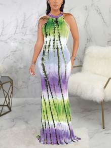 Green Tie Dyeing Halter Neck Cut Out Bodycon Mermaid Party Maxi Dress