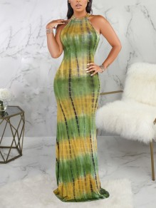 Orange Tie Dyeing Halter Neck Cut Out Bodycon Mermaid Party Maxi Dress