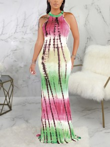 Rose Carmine Tie Dyeing Halter Neck Cut Out Bodycon Mermaid Party Maxi Dress