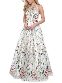 White Patchwork Grenadine Embroidery Pleated Prom Evening Party Maxi Dress