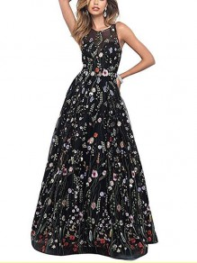 Black Patchwork Grenadine Embroidery Pleated Prom Evening Party Maxi Dress