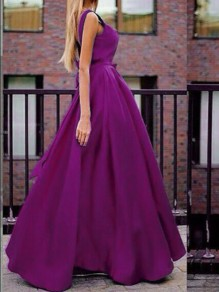 Purple Bow Big Swing Backless Sleeveless Elegant Cocktail Party Prom Maxi Dress