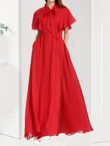 Red Pockets Draped Chiffon Bow Collar Short Sleeve Elegant Maxi Dress