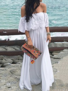 White Ruffle Print Fashion Comfy One Piece Maxi Dress