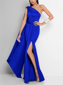 Blue Asymmetric Shoulder Backless Pleated Bodycon Mermaid Thigh High Side Slits Prom Evening Party Maxi Dress
