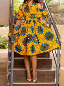 Yellow Floral Turndown Collar Pleated Cut Out Homecoming Party Maxi Dress