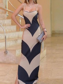 Apricot-Black Striped Spaghetti Strap Bodycon Prom Evening Party Maxi Dress