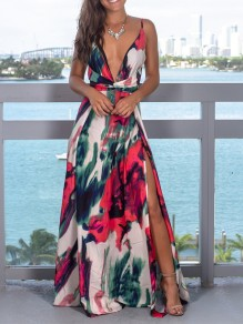 Red Floral Spaghetti Strap Pleated Thigh High Side Slits V-neck Bohemian Beachwear Maxi Dress