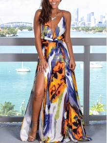 Purple Floral Spaghetti Strap Pleated Thigh High Side Slits V-neck Bohemian Beachwear Maxi Dress