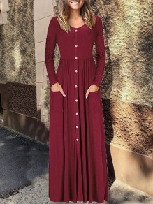 Burgundy Single Breasted Long Sleeve V-neck Casual Fashion Women Maxi Dress