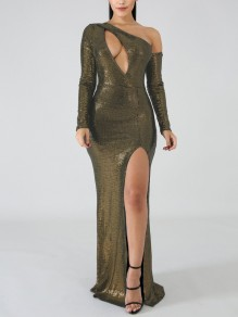 Golden Patchwork Sequin Asymmetric Shoulder Cut Out Bodycon Mermaid Side Slits Sparkly Glitter Birthday Party Maxi Dress