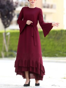 Burgundy Cascading Ruffle Belt Bell Sleeve Church Elegant Vintage Party Maxi Dress