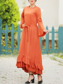Orange Cascading Ruffle Belt Bell Sleeve Church Elegant Vintage Party Maxi Dress