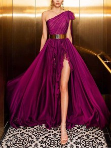 Purple Patchwork Grenadine Pleated Side Slits Asymmetric Shoulder Prom Evening Party Maxi Dress