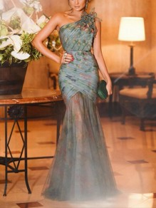 Light Blue Patchwork Grenadine Pleated Asymmetric Shoulder Bodycon Mermaid Prom Evening Party Maxi Dress