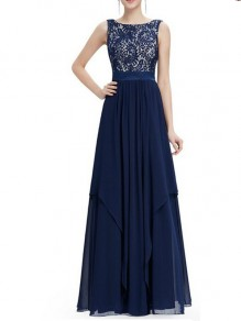 Blue Patchwork Lace Prom Evening Party Elegant Chiffon Irregular Maxi Dress