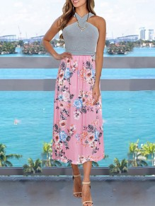Pink Floral Print Shoulder-Strap Backless Sleeveless Bohemian Maxi Dress