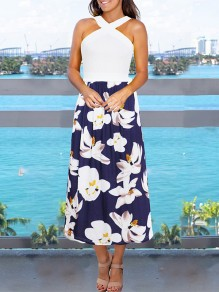 Sapphire Blue Floral Print Shoulder-Strap Backless Sleeveless Bohemian Maxi Dress