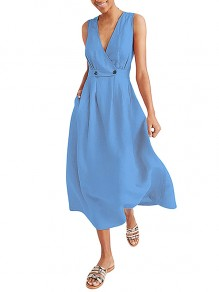 Maxi dress donne casual solide con scollo A V petto scaldato estivo azzurro