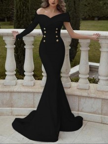 Black Double Breasted Off Shoulder Mermaid Wedding Banquet Prom Party Maxi Dress