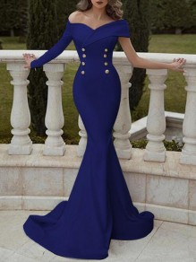 Blue Double Breasted Off Shoulder Mermaid Wedding Banquet Prom Party Maxi Dress