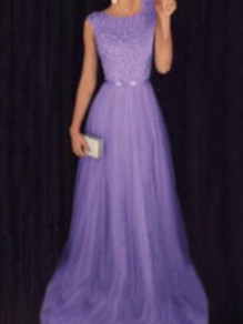 Purple Patchwork Grenadine Sequin Pleated Sparkly Glitter Birthday Prom Evening Party Maxi Dress