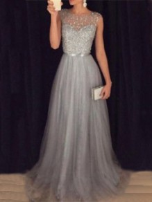 Grey Patchwork Grenadine Sequin Pleated Sparkly Glitter Birthday Prom Evening Party Maxi Dress