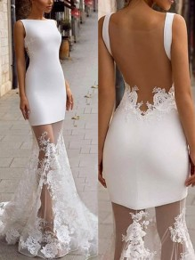White Patchwork Lace Backless Bodycon Mermaid Prom Evening Party Maxi Dress