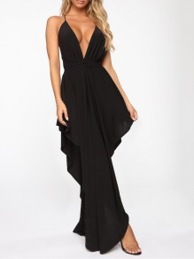 Black Spaghetti Strap Pleated Irregular V-neck Prom Evening Party Maxi Dress