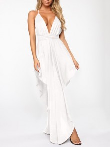 White Spaghetti Strap Pleated Irregular V-neck Prom Evening Party Maxi Dress