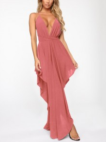 Rose Carmine Spaghetti Strap Pleated Irregular V-neck Prom Evening Party Maxi Dress