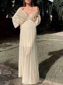 White Striped Pleated Off Shoulder Backless Banquet Wedding Party Maxi Dress