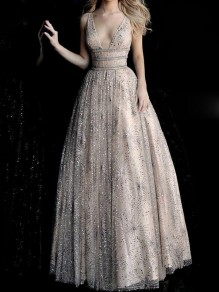 Apricot Patchwork Grenadine Sequin Deep V-neck Backless Sparkly Banquet Wedding Prom Party Maxi Dress