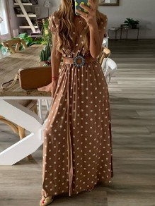 Brown Polka Dot Draped V-neck Short Sleeve Fashion Maxi Dress