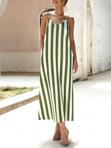 Army Green Striped Condole Belt Pockets V-neck Going out Maxi Dress