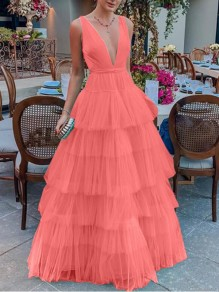 Pink Patchwork Cascading Ruffle Deep V-neck Backless Banquet Wedding Party Maxi Dress