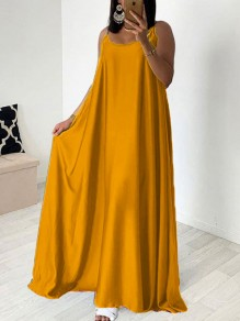 Golden Spaghetti Strap Pleated Bohemian Beachwear Maxi Dress