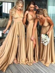 Champagne Side Slit Shoulder-Strap Backless Draped V-neck Sleeveless Party Prom Bridesmaid Maxi Dress