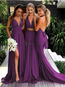 Maxi dress stampa fashion one piece cocktail party purple