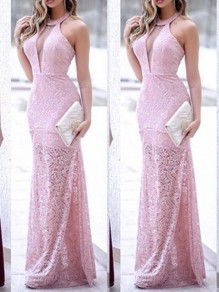 Pink Lace Fashion One Piece Cocktail Party Maxi Dress