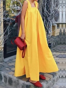 Yellow Patchwork Shoulder-Strap Backless Fashion Maxi Dress
